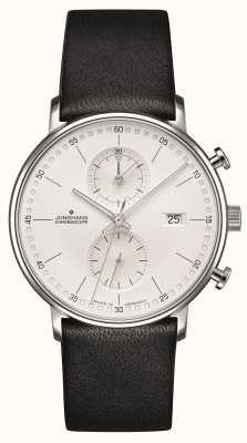 Junghans Vorm c chronoscoop kalfsleer zwarte band 041/4770.00