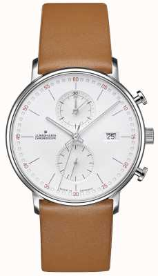 Junghans Vorm c chronoscoop kalfsleer bruine band 041/4774.00