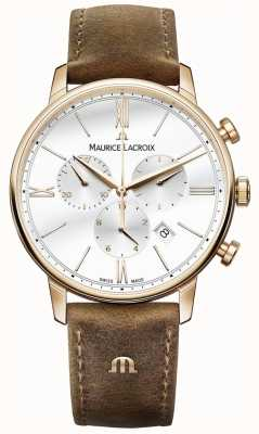 Maurice Lacroix Mens Eliros chronograaf bruine kalf lederen band EL1098-PVP01-113-1