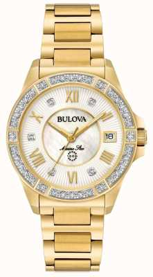 Bulova Dames marine ster diamant goudtint 98R235