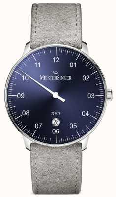 MeisterSinger Mens vorm en stijl neo plus automatische zonnestraal blauw NE408