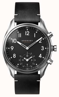 Kronaby 43 mm apex bluetooth zwarte lederen band smartwatch A1000-1399