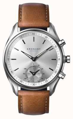Kronaby 43mm sekel bluetooth gelooid bruin leer a1000-0713 S0713/1