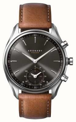 Kronaby 43mm sekel bluetooth bruin lederen zwarte wijzerplaat smartwatch A1000-0719