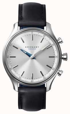 Kronaby 38 mm sekel bluetooth zwarte lederen band smartwatch A1000-0657