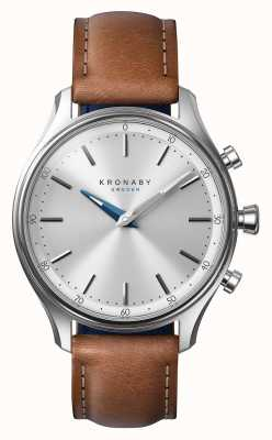 Kronaby 38 mm sekel roestvrij bruine lederen band a1000-0658 S0658/1
