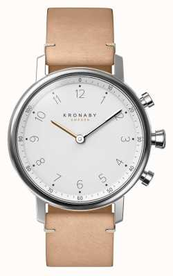 Kronaby 38mm nord bluetooth beige lederen band smartwatch A1000-0712