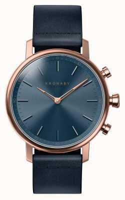 Kronaby 38mm carat bluetooth roségouden blauwe lederen smartwatch A1000-0669