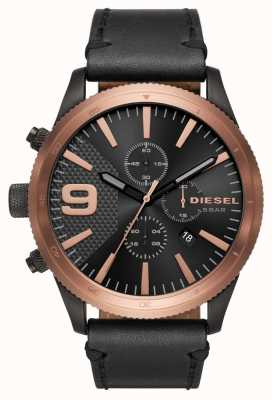 Diesel Heren rasp chrono rose goud / zwart horloge DZ4445