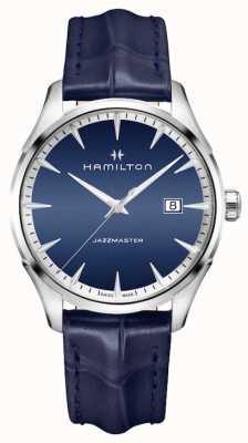 Hamilton Mens jazzmaster kwarts blauw leer H32451641