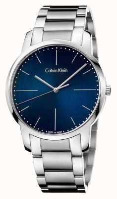 Calvin Klein Mens stad roestvrij stalen armband blauwe wijzerplaat K2G2G1ZN