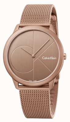 Calvin Klein Mens minimaal goudbruin roestvrij staal mesh armband K3M11TFK
