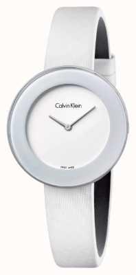Calvin Klein Womans chique witte lederen riem witte wijzerplaat K7N23TK2