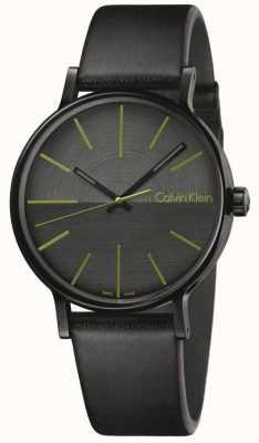 Calvin Klein Mens stimuleert zwarte leergroene indices K7Y214CL