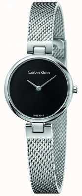 Calvin Klein Womans authentieke roestvrijstalen mesh armband zwarte wijzerplaat K8G23121