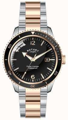 Rotary Mens oceaan avenger twee toon zwarte wijzerplaat GB02695/04