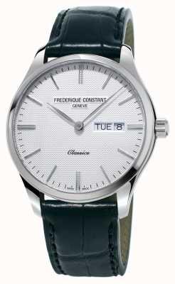Frederique Constant Mens klassiekers quartz zwart lederen riem witte wijzerplaat FC-225ST5B6