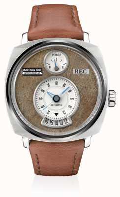 REC P51-02 mustang automatisch bruin lederen band