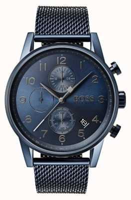 Hugo Boss Mens navigator blauwe chronograaf mesh metalen horloge 1513538