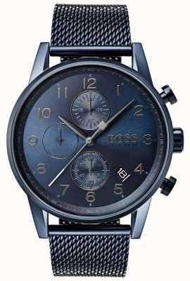Boss Heren navigator blauw chronograaf mesh metalen horloge 1513538