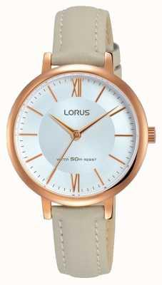 Lorus Womans sunray dial zachte grijze leren riem RG264LX7