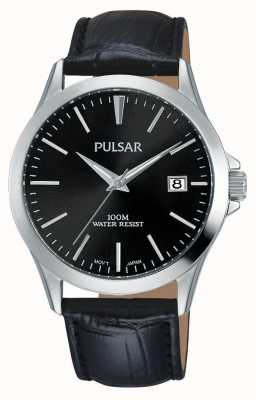 Pulsar Mens zwart alligator patroon leren band PS9457X1