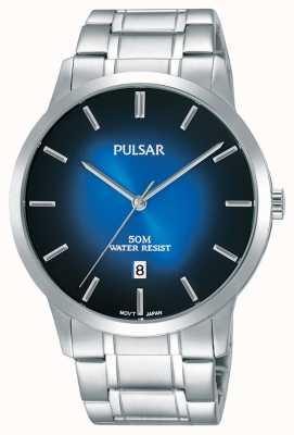 Pulsar Heren zilveren stalen armband blauwe gradatie wijzerplaat PS9527X1