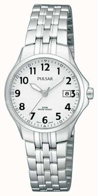 Pulsar Womans roestvrijstalen armband eenvoudige witte wijzerplaat PH7221X1