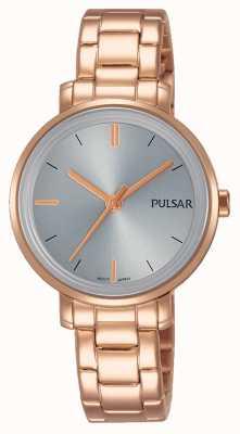 Pulsar Womans roos goud roestvrijstalen armband grijze wijzerplaat PH8362X1