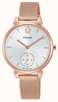 Pulsar Womans roos vergulde mesh staal armband zilveren wijzerplaat PN4054X1