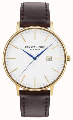 Kenneth Cole Mannen witte date dial donkerbruine lederen band KC15059005