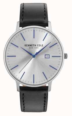 Kenneth Cole Mens donker zilveren date dial zwarte lederen band KC15059006