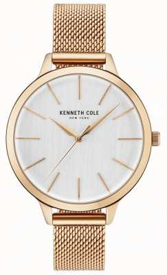 Kenneth Cole Womans witte wijzerplaat rose goud mesh armband KC15056014