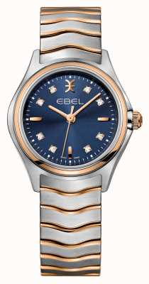 EBEL Wave womens diamond set tweekleurig blauw wijzerplaathorloge 1216379