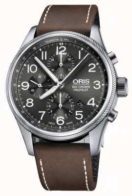 Oris Grote kroon propilot automatische chronograaf bruine lederen band 01 774 7699 4063-07 5 22 05FC