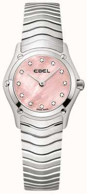 EBEL Dames klassiek 12 diamant set roze wijzerplaat roestvrij staal 1216279