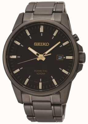 Seiko Mens kinetisch zwart-ionen plated staal horloge SKA755P1