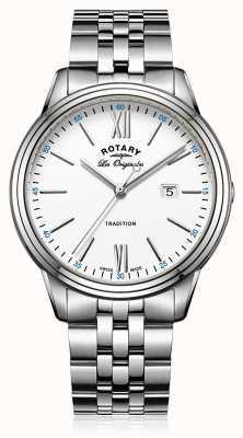 Rotary Mens roestvrij stalen armband witte wijzerplaat GB90194/01