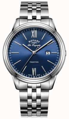 Rotary Heren roestvrijstalen armband blauwe wijzerplaat GB90194/05