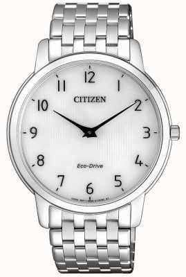 Citizen Heren stiletto ultradun roestvrijstalen horloge met witte wijzerplaat AR1130-81A