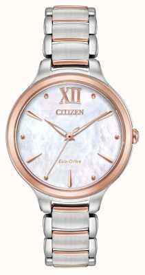 Citizen Vrouwen l twee toon roos goud horloge EM0556-87D