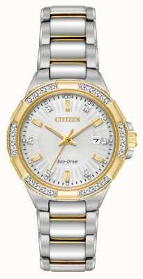 Citizen Vrouwen riva diamant twee toon roestvrij stalen horloge EW2464-55A