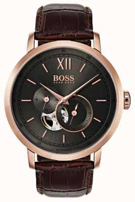 Boss Heren signature automatisch bruin lederen horloge 1513506