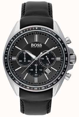 Hugo Boss Mens chauffeur sport zwart leer chronograaf 1513085