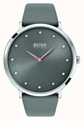Boss Dames jillian horloge grijs leer 1502413