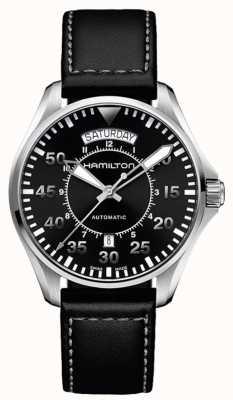 Hamilton Khaki piloot dag datum auto zwart leer H64615735