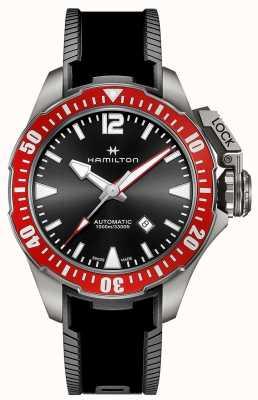 Hamilton Kaki navy kikker 1000m titanium auto zwart rubber H77805335