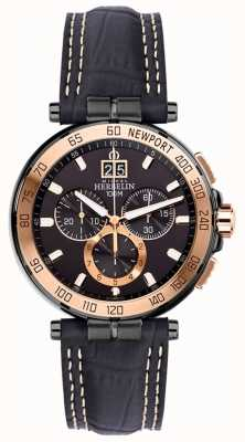 Michel Herbelin Heren Newport Yacht Club Chronograaf Zwarte Band Black Dial 36656/TR14