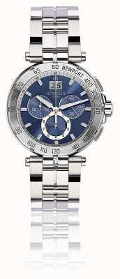 Michel Herbelin Mens newport chronograaf roestvrijstalen armband blauwe wijzerplaat 36696/B35