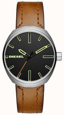 Diesel Herenknoop bruin lederen riem DZ1831
